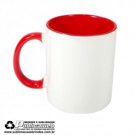 Caneca para Sublimação de Cerâmica Branca com Alça e Interior Vermelho