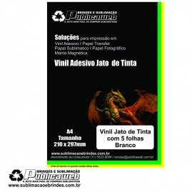 Adesivo Vinil p/ Jato de Tinta Branco Brilhante  A4 C/ 100 Folhas