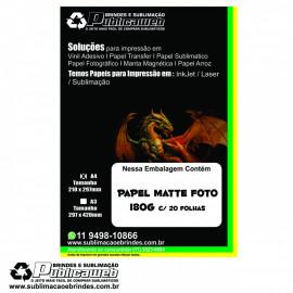 Papel Matte Fotográfico A4 Premium Resistente a Água 180g