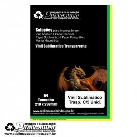 Adesivo Vinil Transp.  Sublimatico Para Brindes A4 C/ 5 Unid.