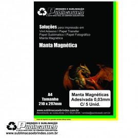 Manta Magnética Adesivada A4 / 0,3mm C/ 5 Unidades