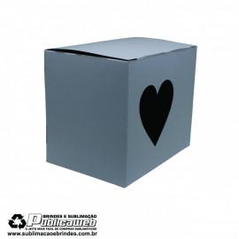 Caixa para Canecas Quadrada com Janela em forma de coração c/ 10 Unidades