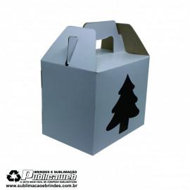 Caixa com Alça para Canecas com Janela em forma de Natal  c/ 10 Unidades