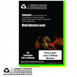 Adesivo Vinil Laser Branco Brilhante Tamanho A3 C/ 5 Unid.