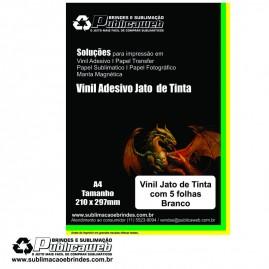 Adesivo Vinil p/ Jato de Tinta Branco Brilhante  A4 C/ 5 Unid.