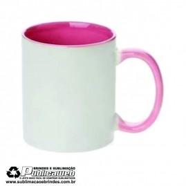 Caneca para Sublimação de Cerâmica Branca com Alça e Interior Rosa