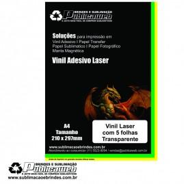 Adesivo Vinil para impressora laser transparente Brilhante A4 C/ 5 Unid.