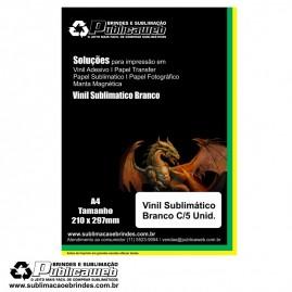 Adesivo Vinil Branco Sublimatico Para Brindes A4 C/ 5 Unid.