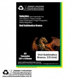 Adesivo Vinil Branco Sublimatico Para Brindes A3 C/ 5 Unid.
