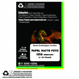 Papel Matte Fotográfico Adesivo A4 Premium Resistente a Água 135g