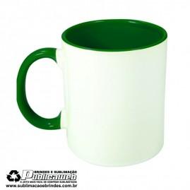 Caneca para Sublimação de Cerâmica Branca com Alça e Interior Verde