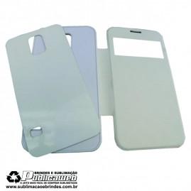 Capa 2D para Celular Branca Flip c/ Visor para Sublimação Galaxy S4