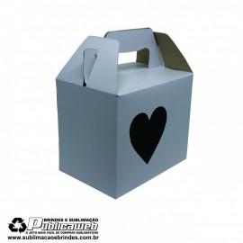 Caixa com Alça para Canecas com Janela em forma de coração  c/ 10 Unidades