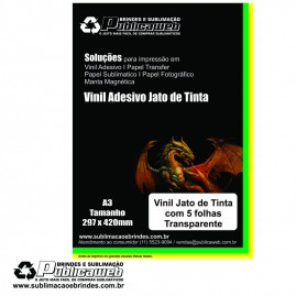Adesivo Vinil p/ Jato de Tinta Transp. Brilhante A3 C/ 5 Unid.
