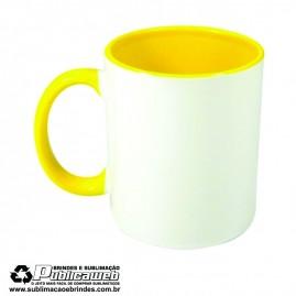 Caneca para Sublimação de Cerâmica Branca com Alça e Interior Amarelo